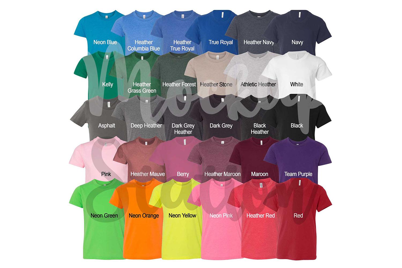Bella Canvas 3001Y T-shirt Color Chart, Digital Color Swatch example image 2