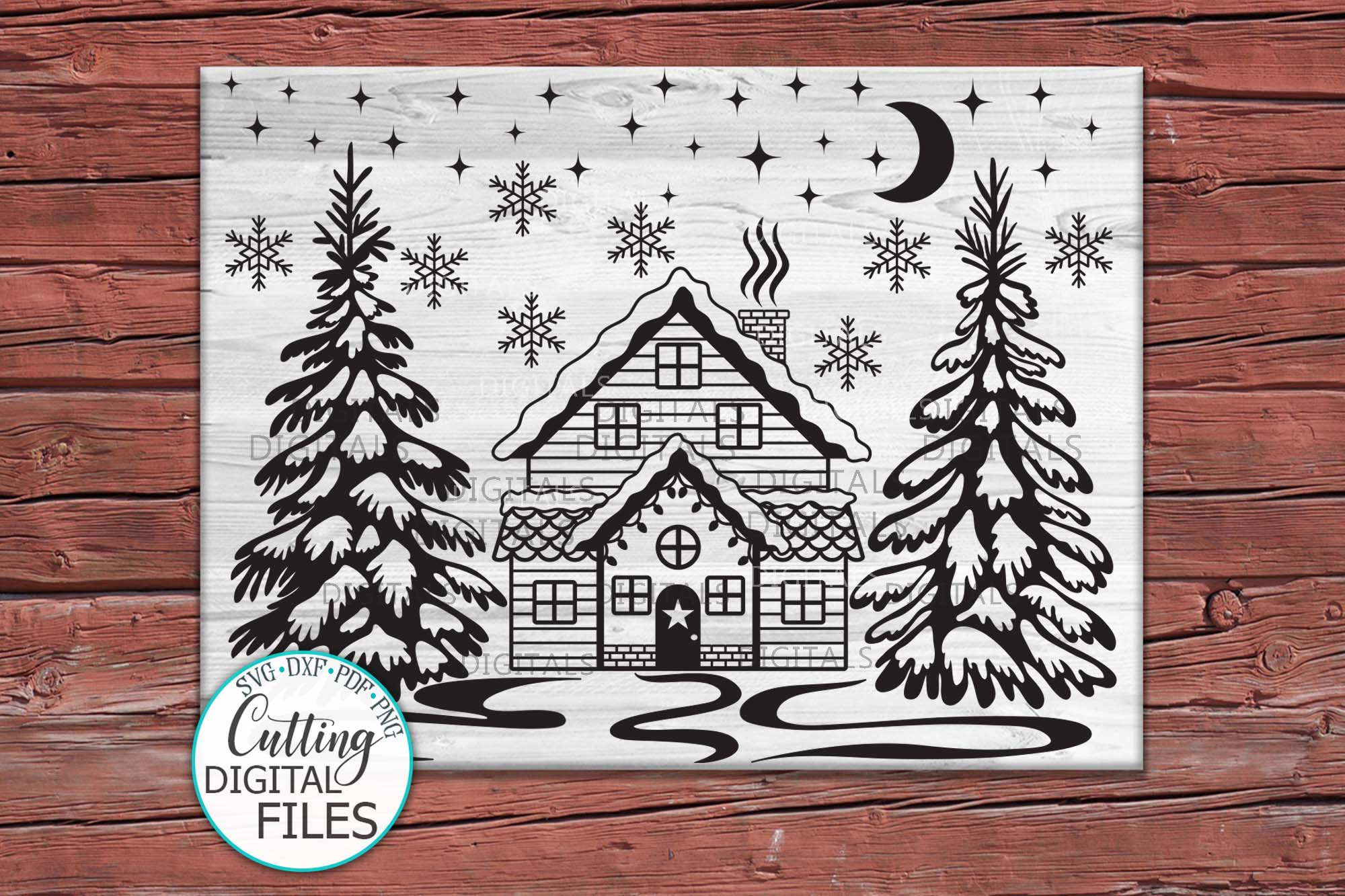 Winter Christmas House Scene Landscape with Trees svg cut example image 4