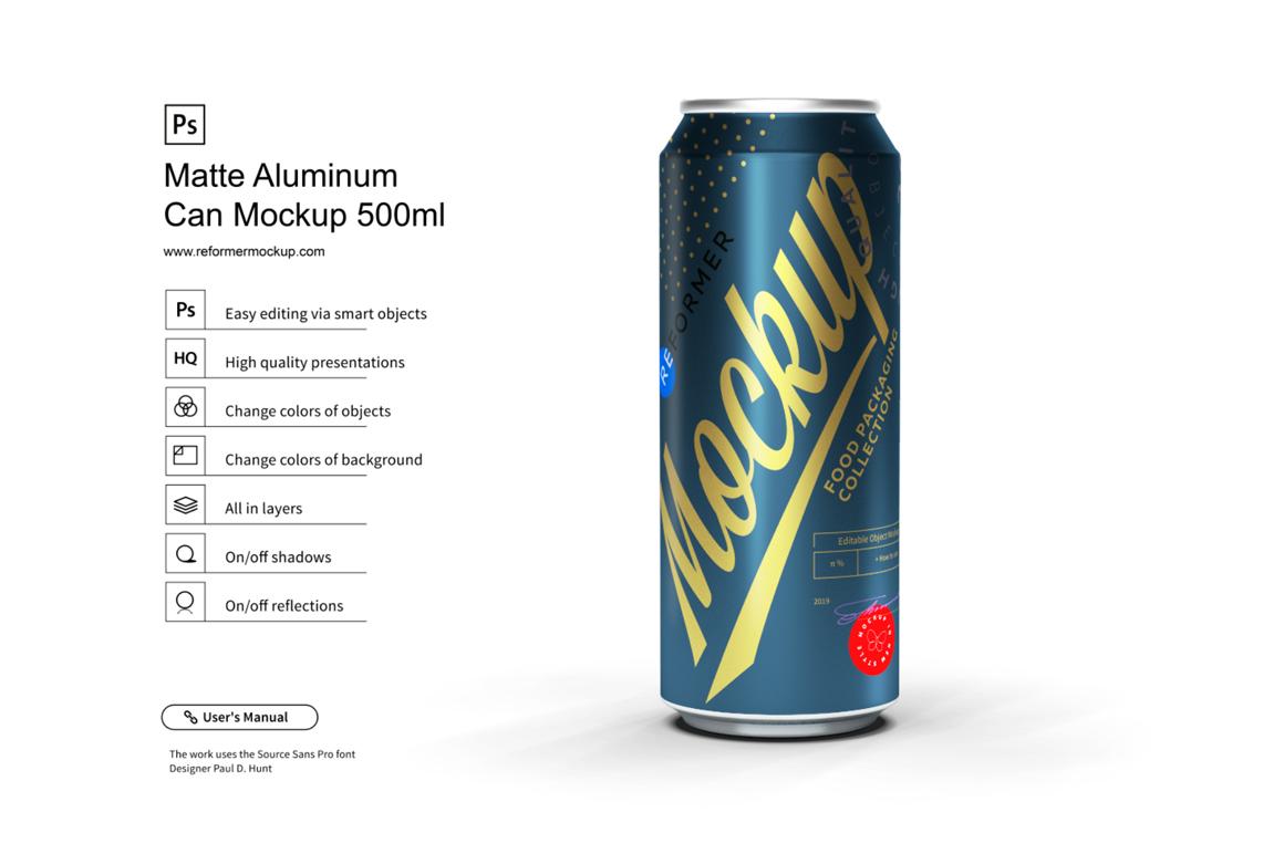 Matte Aluminum Can Mockup 500ml example image 3