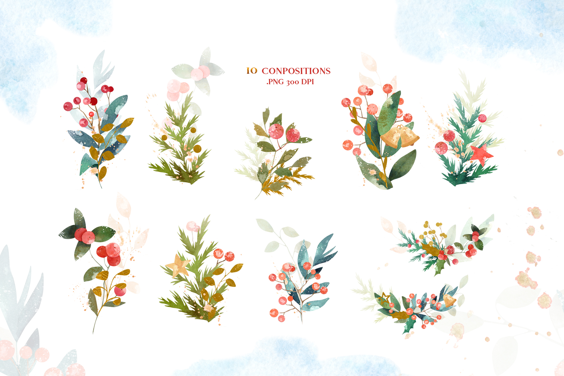 Merry Christmas Watercolor Design Set example image 6
