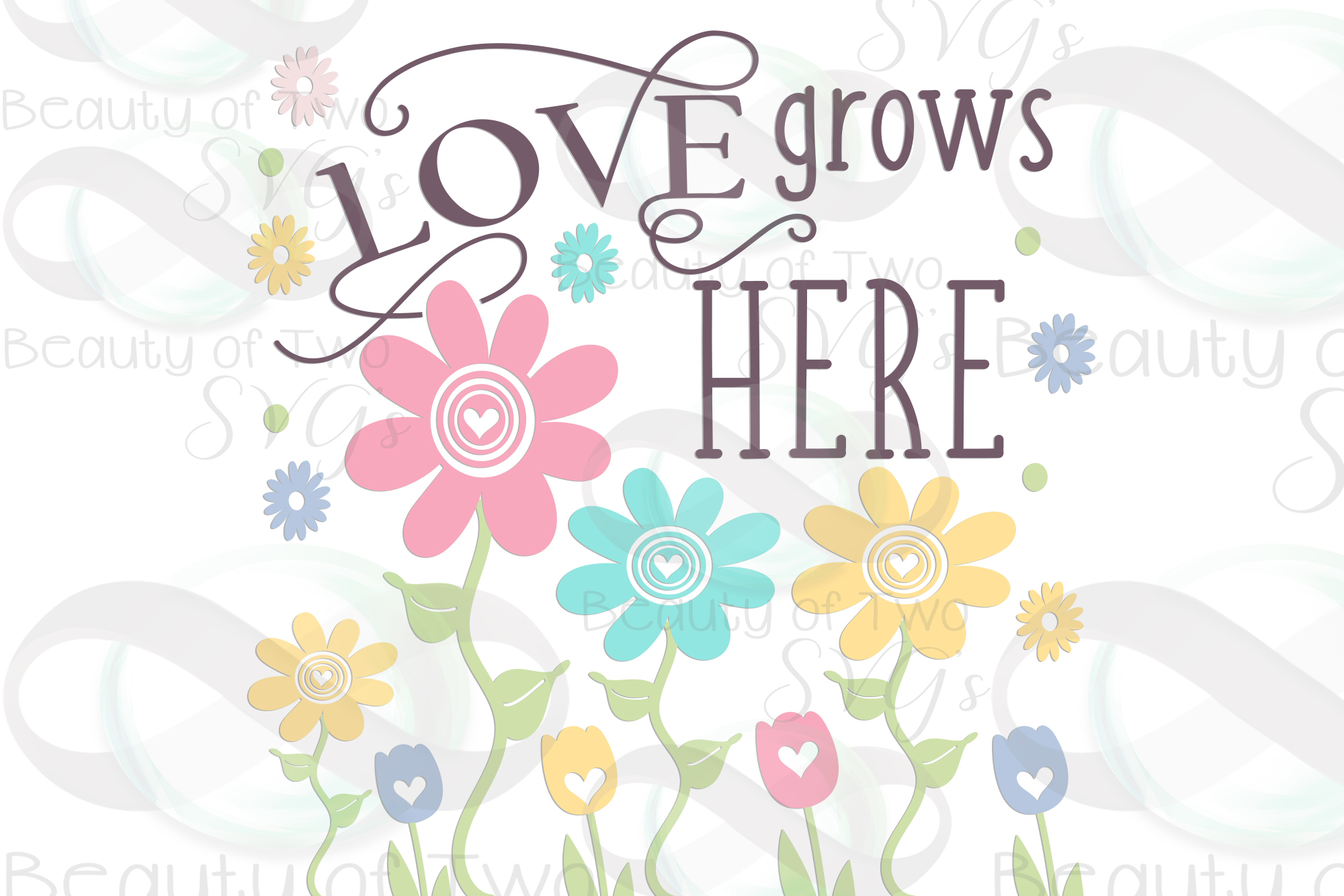 Spring Flowers svg, Love Grows Here Farmhouse svg, Spring example image 3