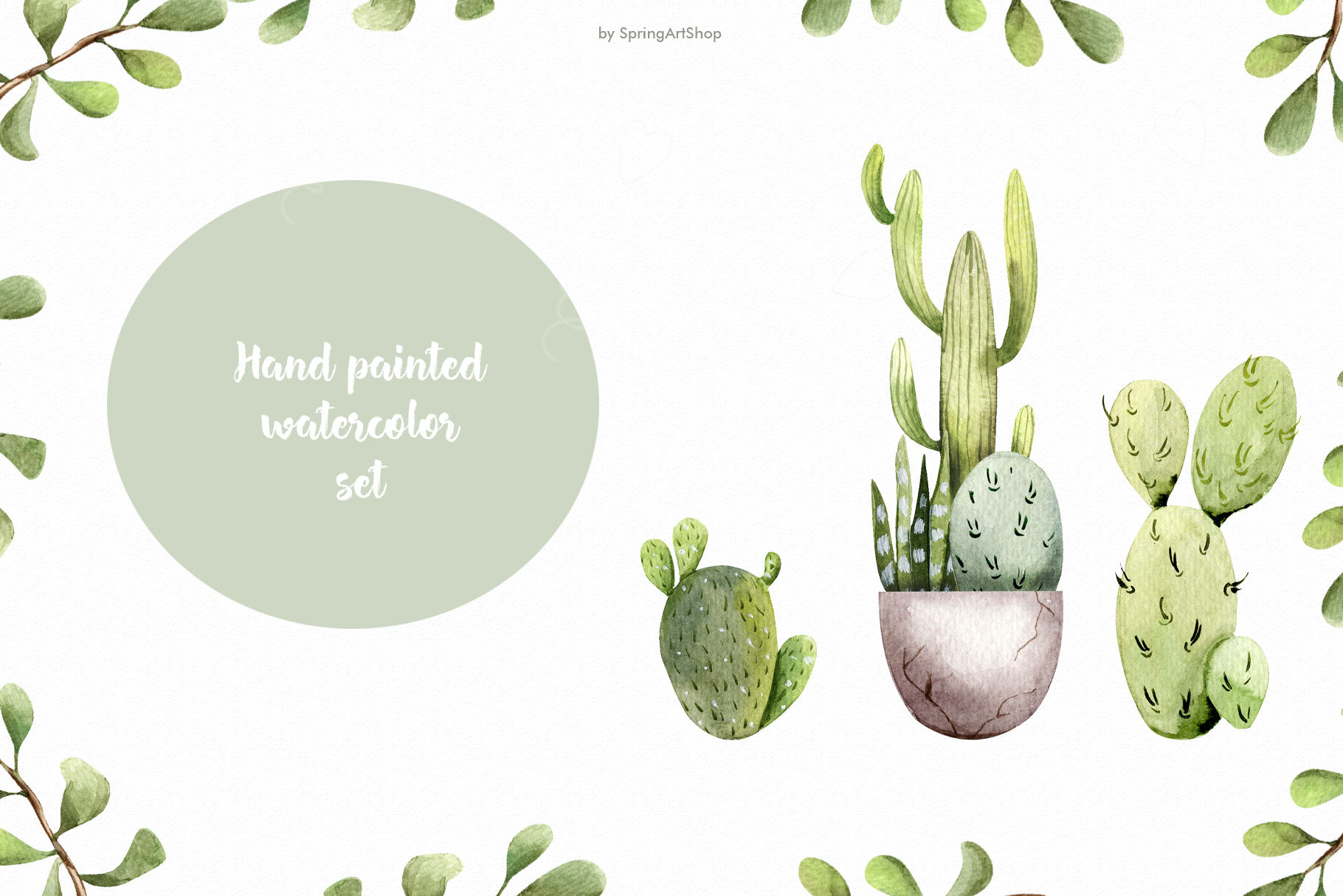 Watercolor Cacti clipart Plants watercolor succulents example image 4