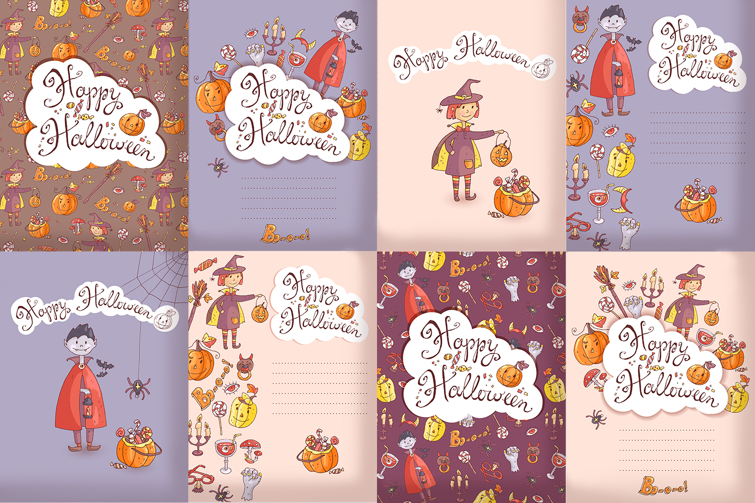 Cute Halloween. Patterns, cards. example image 3