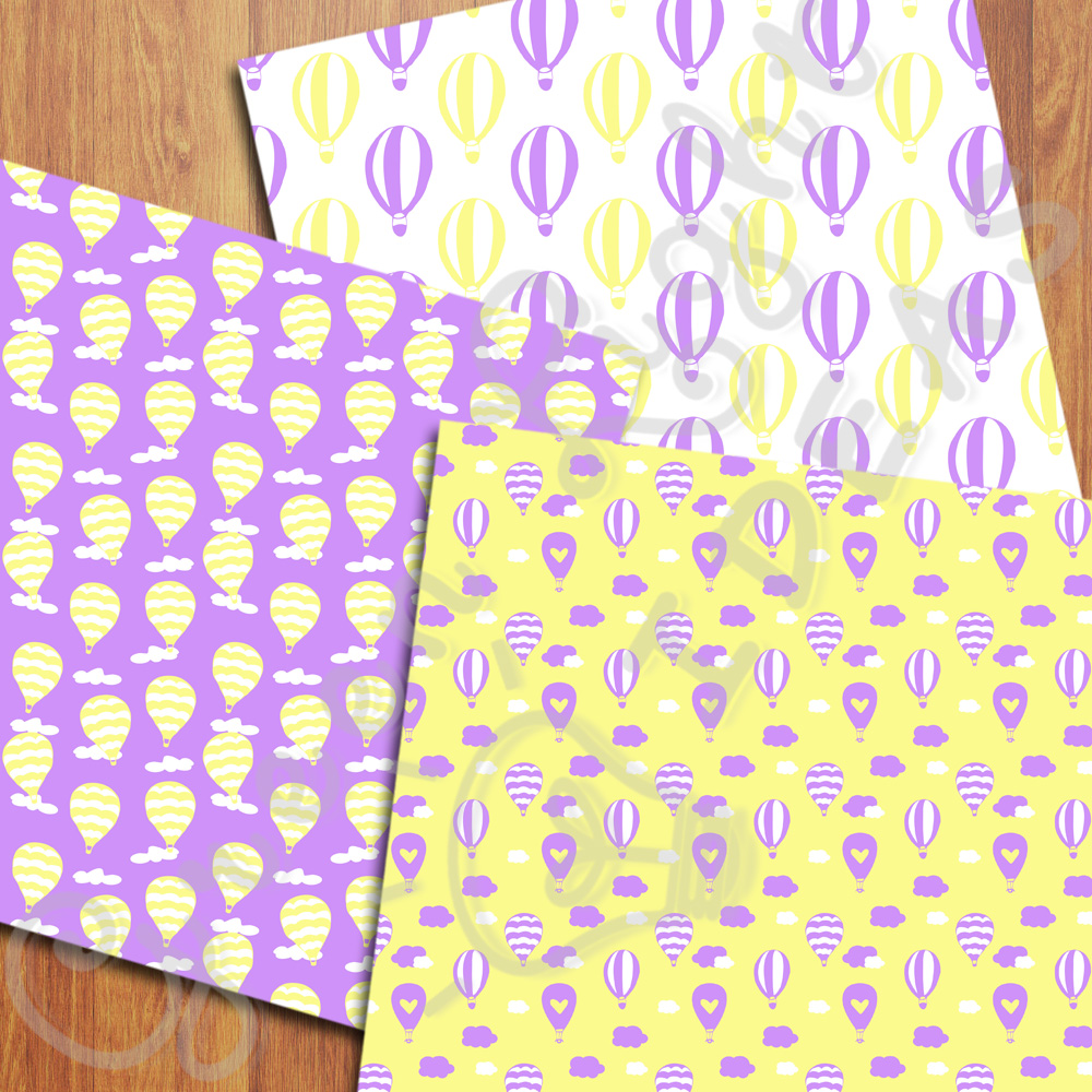 Purple and Yellow Hot Air Balloons Digital Papers example image 2
