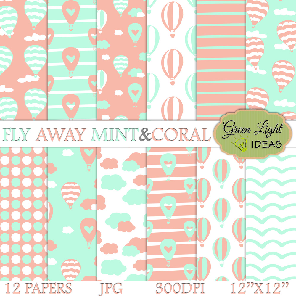Mint and Coral Hot Air Balloons Digital Papers example image 1