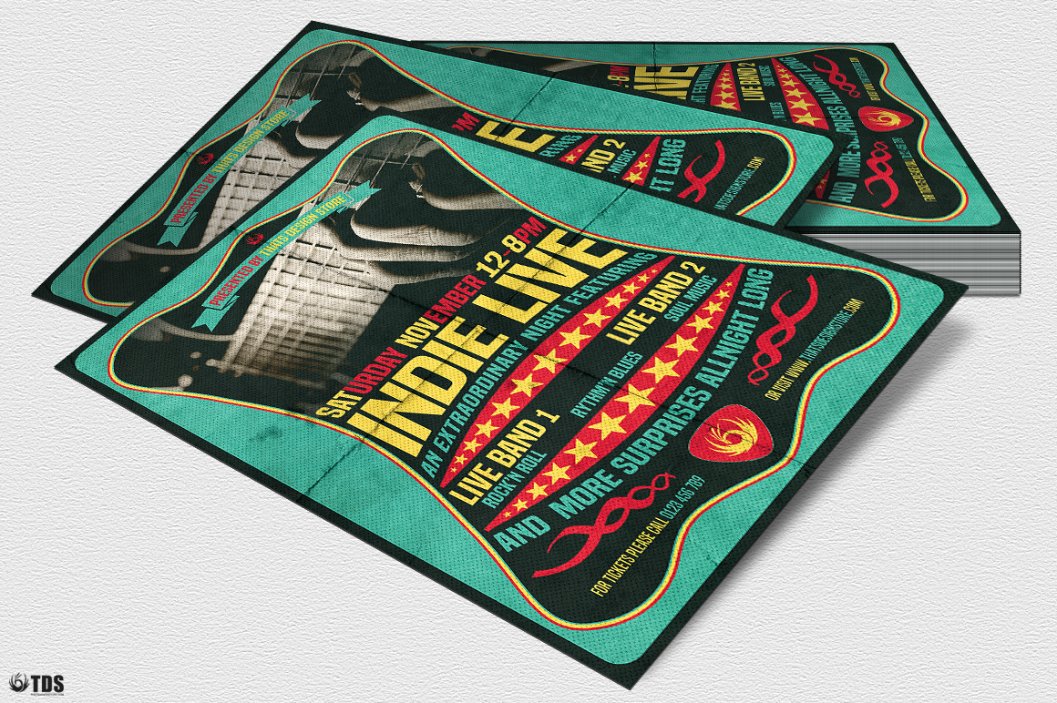 Indie Live Flyer Template example image 4