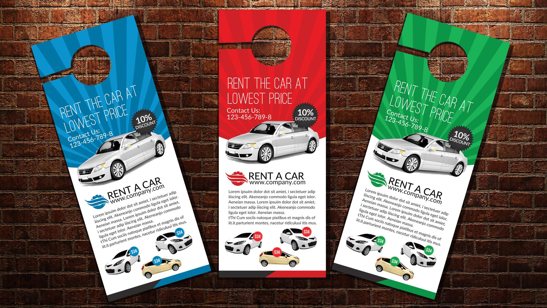 Rent A Car Door Hangers example image 3