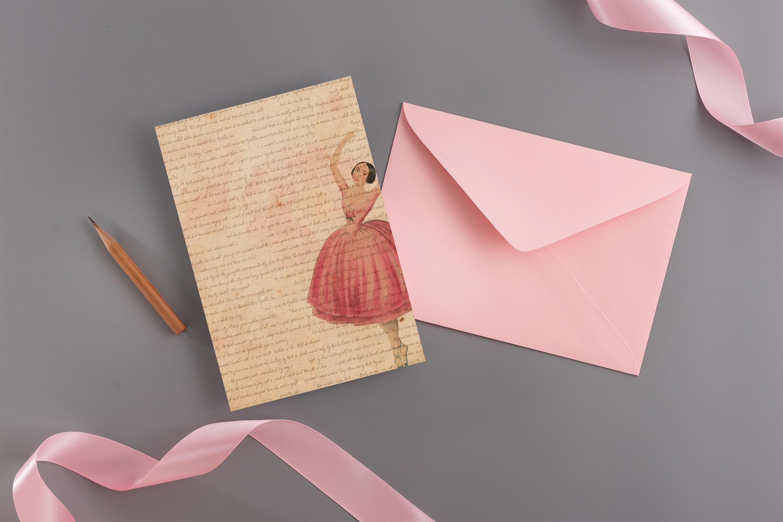 "16 Antique Ephemera Dancing Ballerina Digital Papers 8.5x11"" example image 5"
