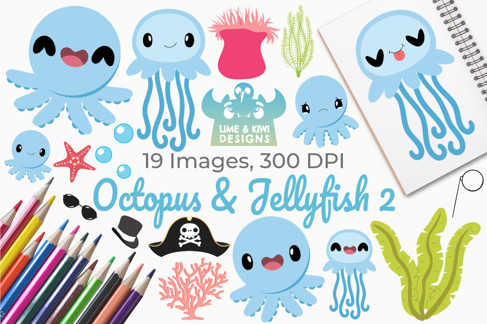 Octopus & Jellyfish 2 Clipart, Instant Download Vector Art example image 1