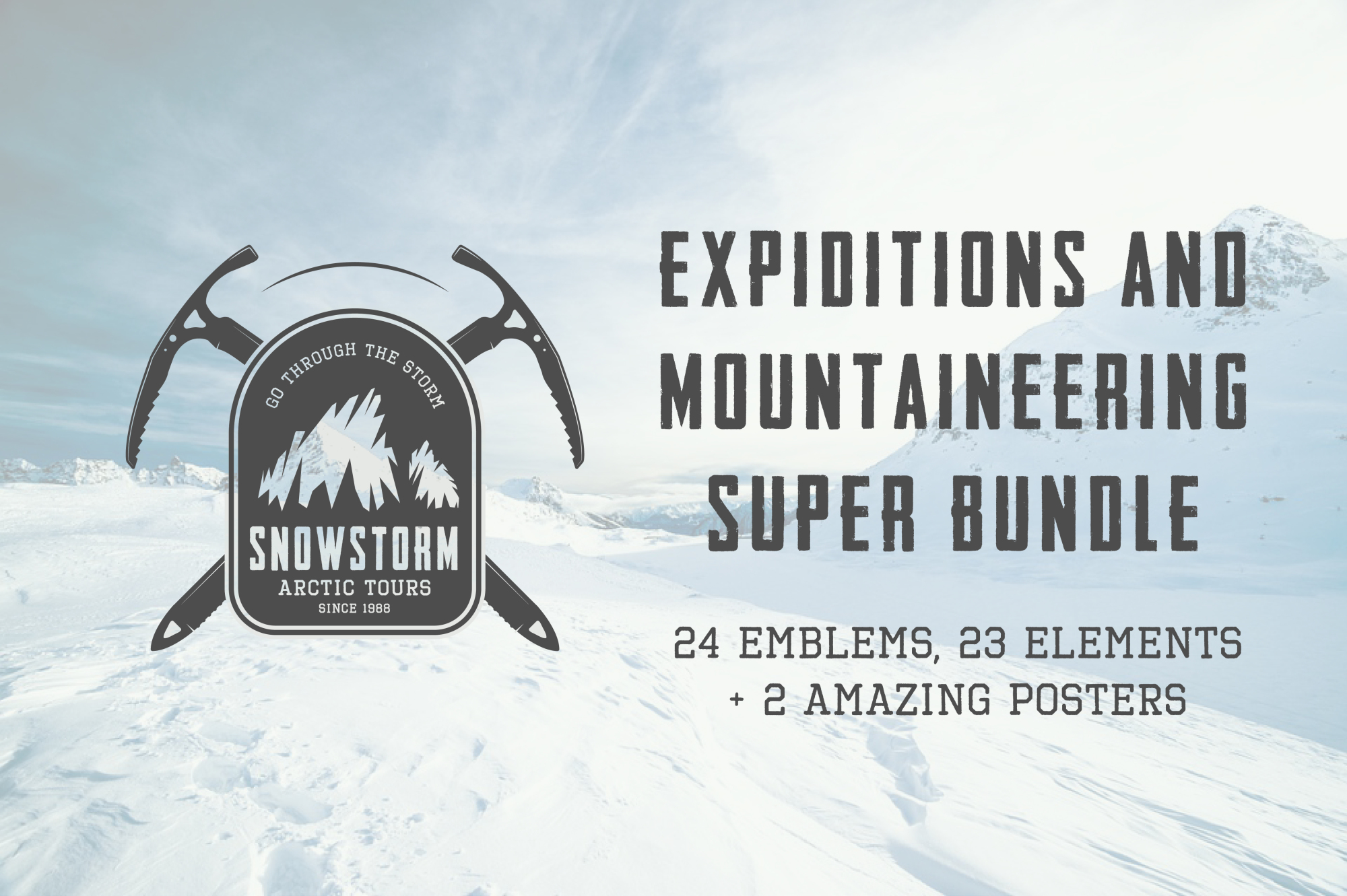 Winter vintage adventure emblems. example image 1