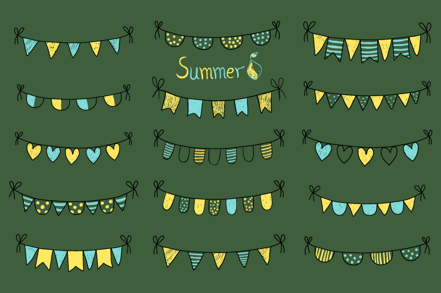 Cute hand drawn summer bunting clip art set, Birthday party bunting example image 3