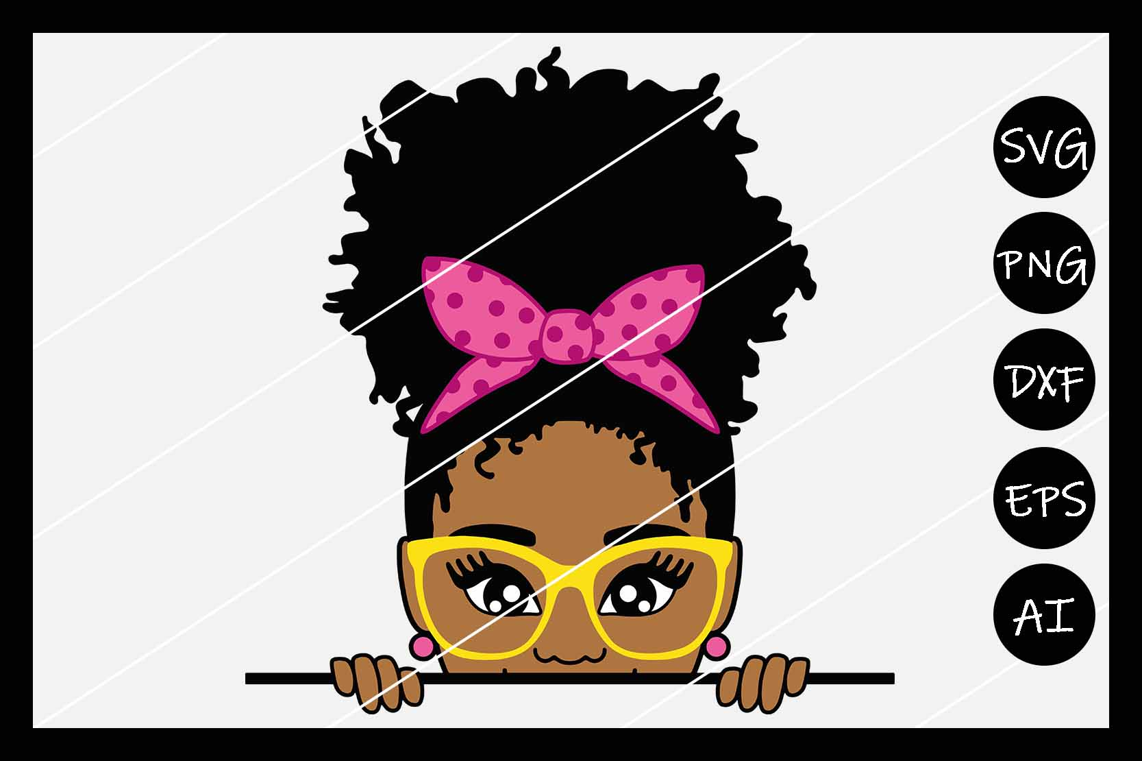 African American Afro Girl Puff SVG, Silhouette Cameo, Cut example image 1