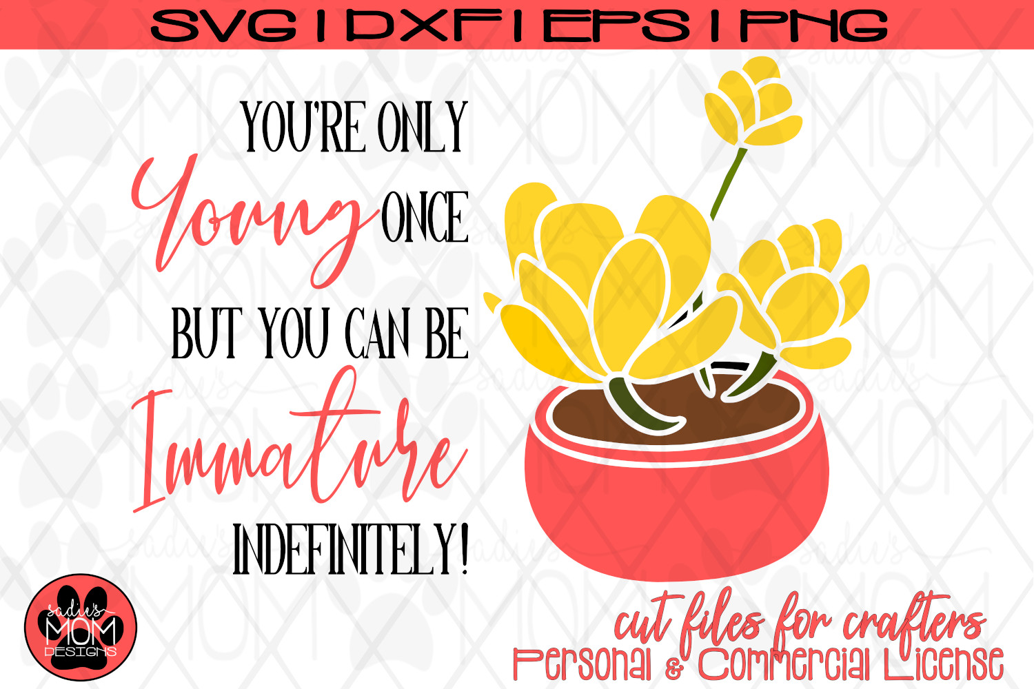 Potted Flower You're Only Young Once | Birthday SVG Cut File example image 4