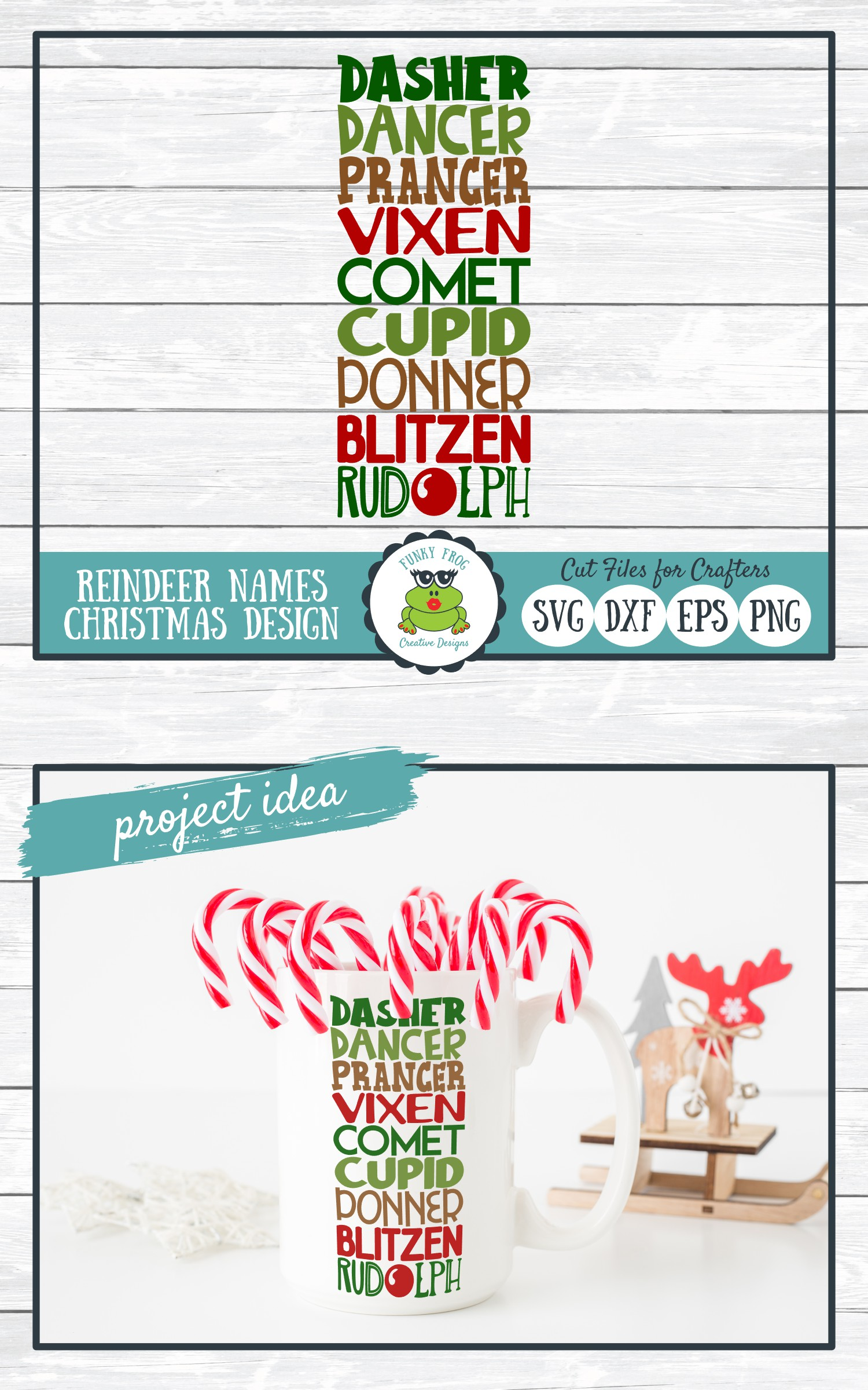 Reindeer Names, Christmas SVG Cut File for Crafters example image 4