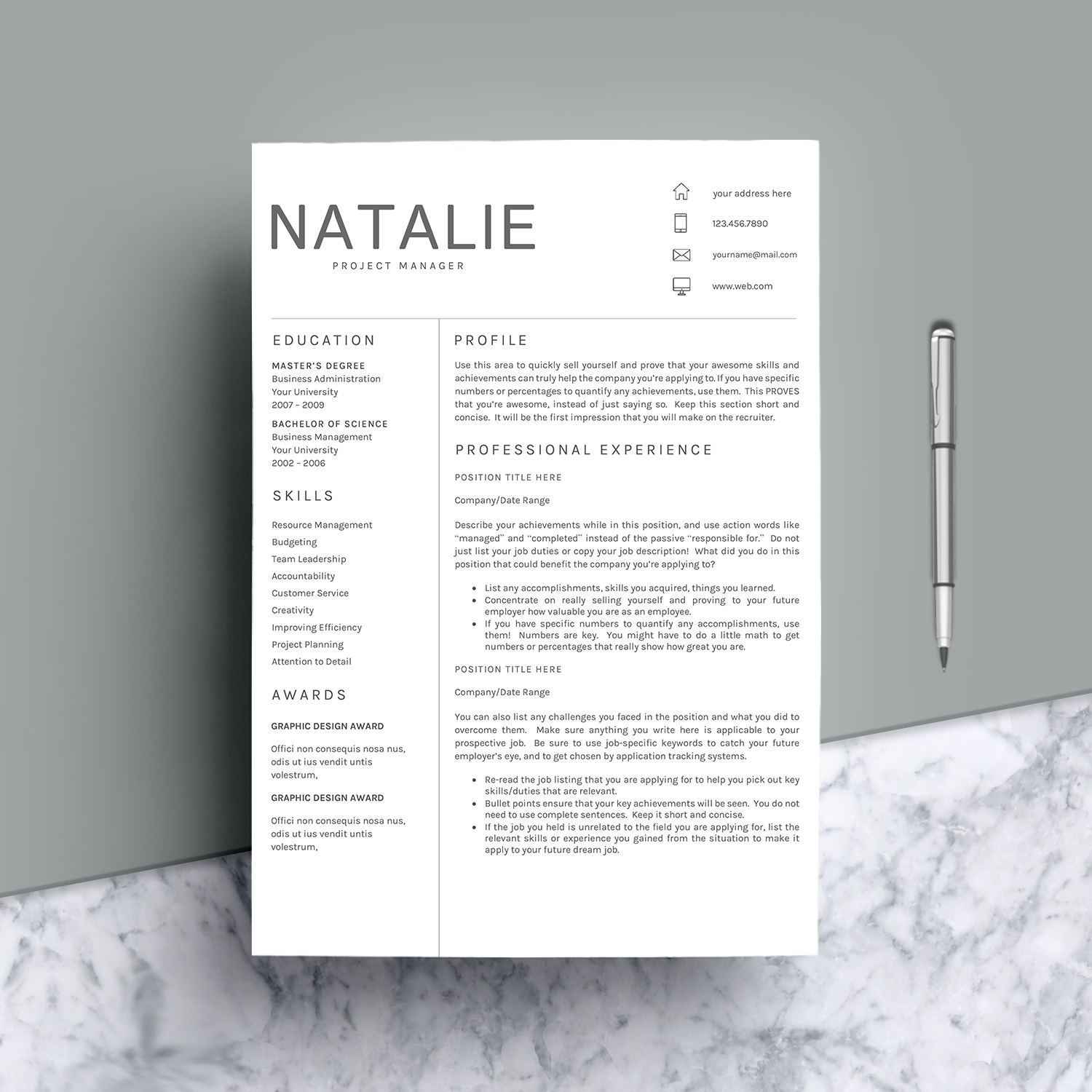 Resume Template CV Word example image 6