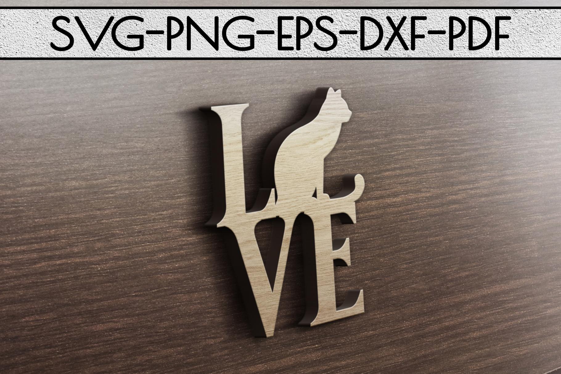 Cat Love Papercut Template, Cat Lover Decor, SVG, DXF PDF example image 3