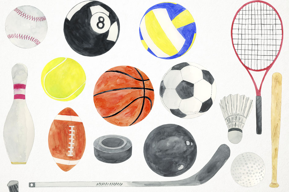 Watercolor Ball Games Clipart, Sports Clipart, Sports PNG example image 2