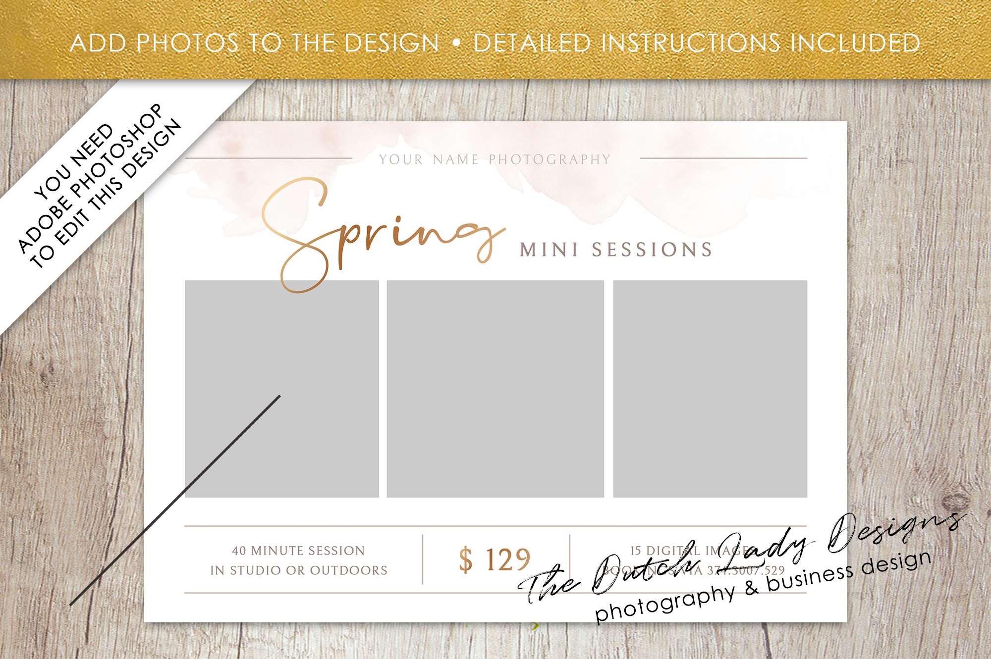PSD Spring Photo Session Card Template - Design #38 example image 2
