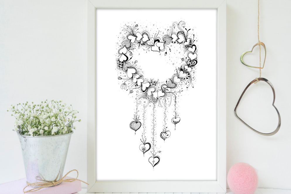 Doodle Heart Artwork, A1, SVG example image 3