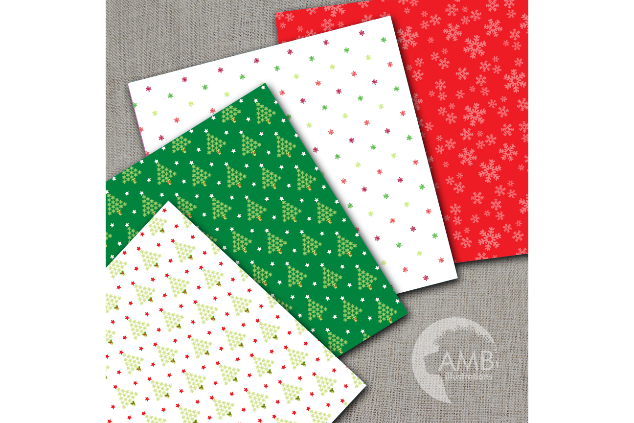 Traditional Christmas digital paper, Holly Jolly Papers, Holiday digital paper, commercial use, instant download, AMB-1540 example image 2
