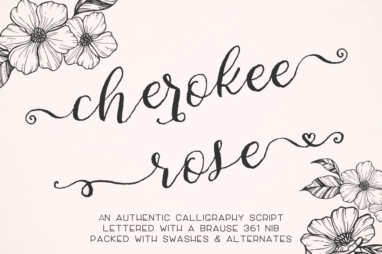Cherokee Rose Calligraphy Script example image 1