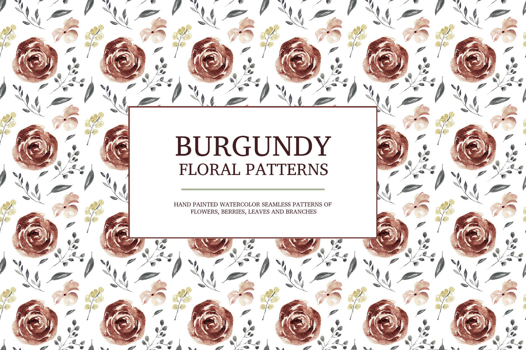 Burgundy floral seamless patterns, Seamless peony pattern example image 5