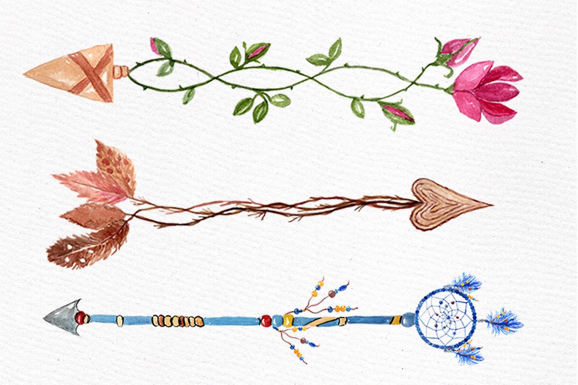 Watercolor arrows clip art example image 3