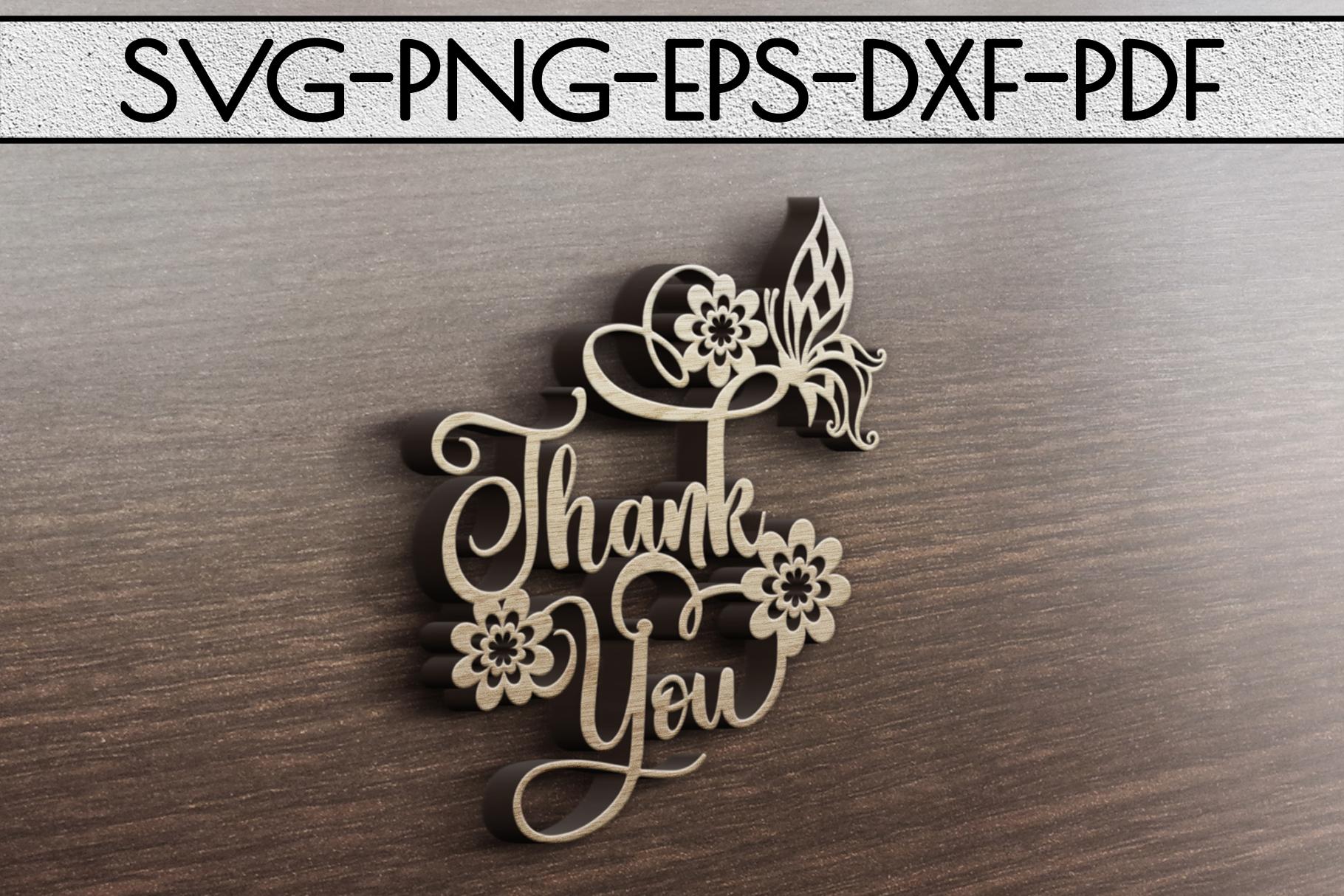 Thank You Papercut Templates Bundle, Laser Vector SVG, PDF example image 4