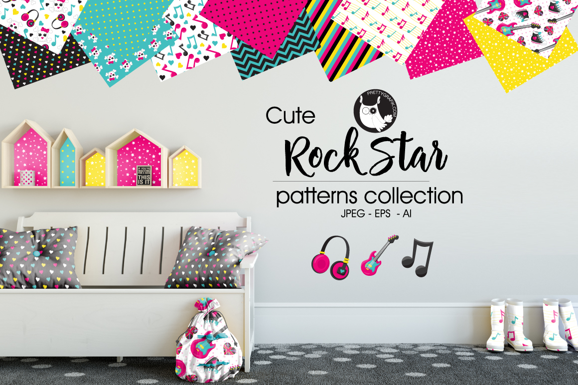 ROCK-STAR, digital papers example image 1