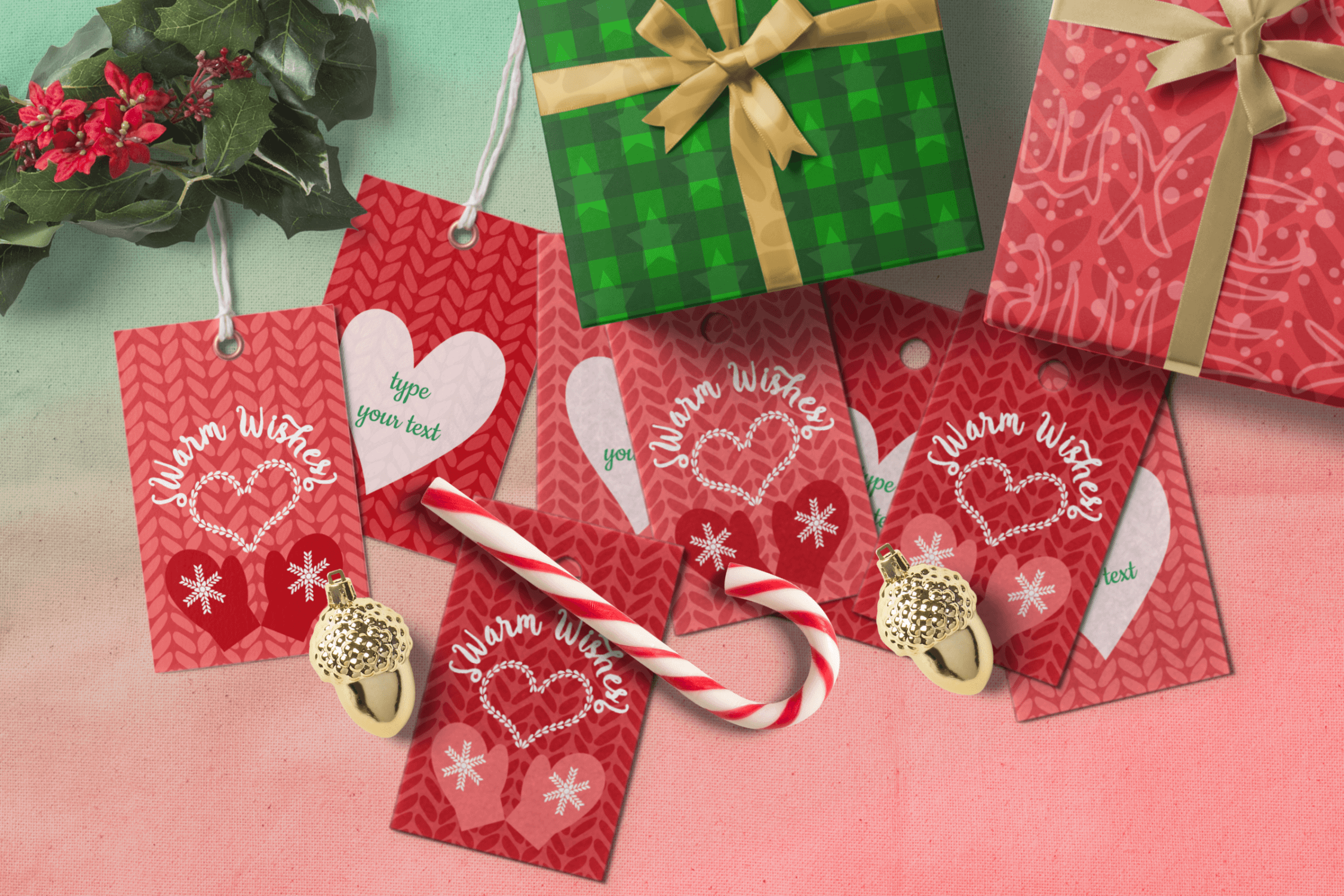 Printable Warm Wishes Red Tags Knitting Branding Tags example image 3