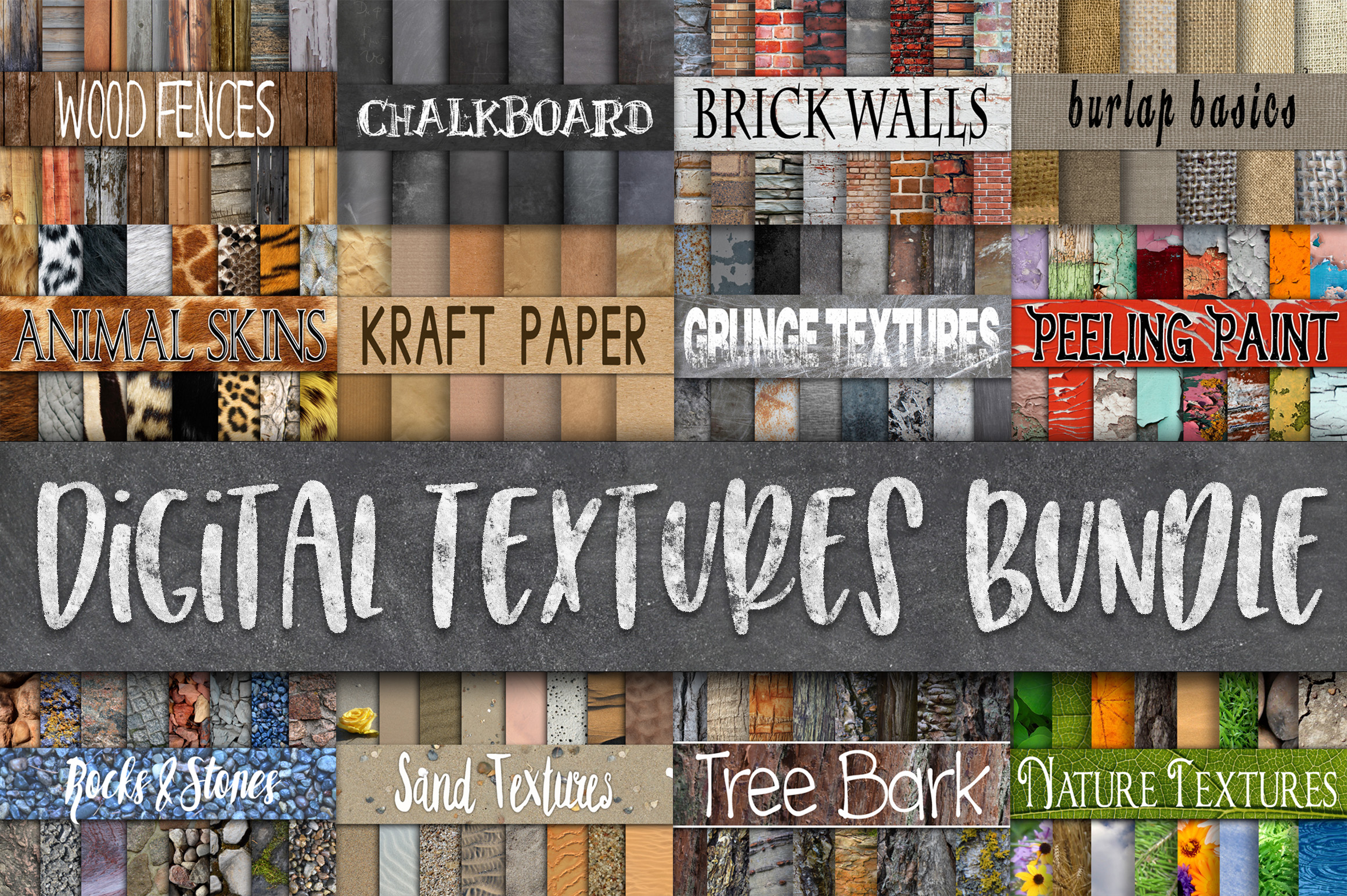 Digital Textures Bundle - Includes 180 Digital Papers example image 1