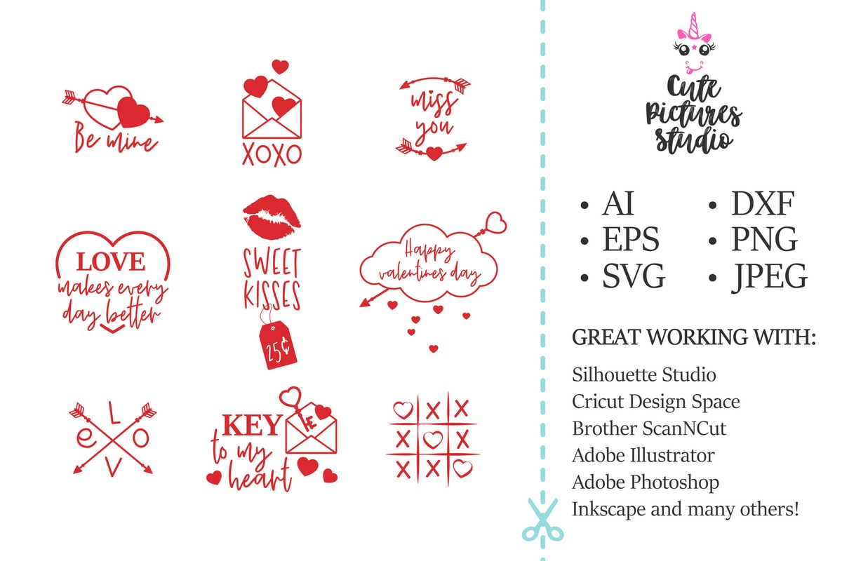 Valentine's Day SVG - Heart, arrows, clouds. example image 2