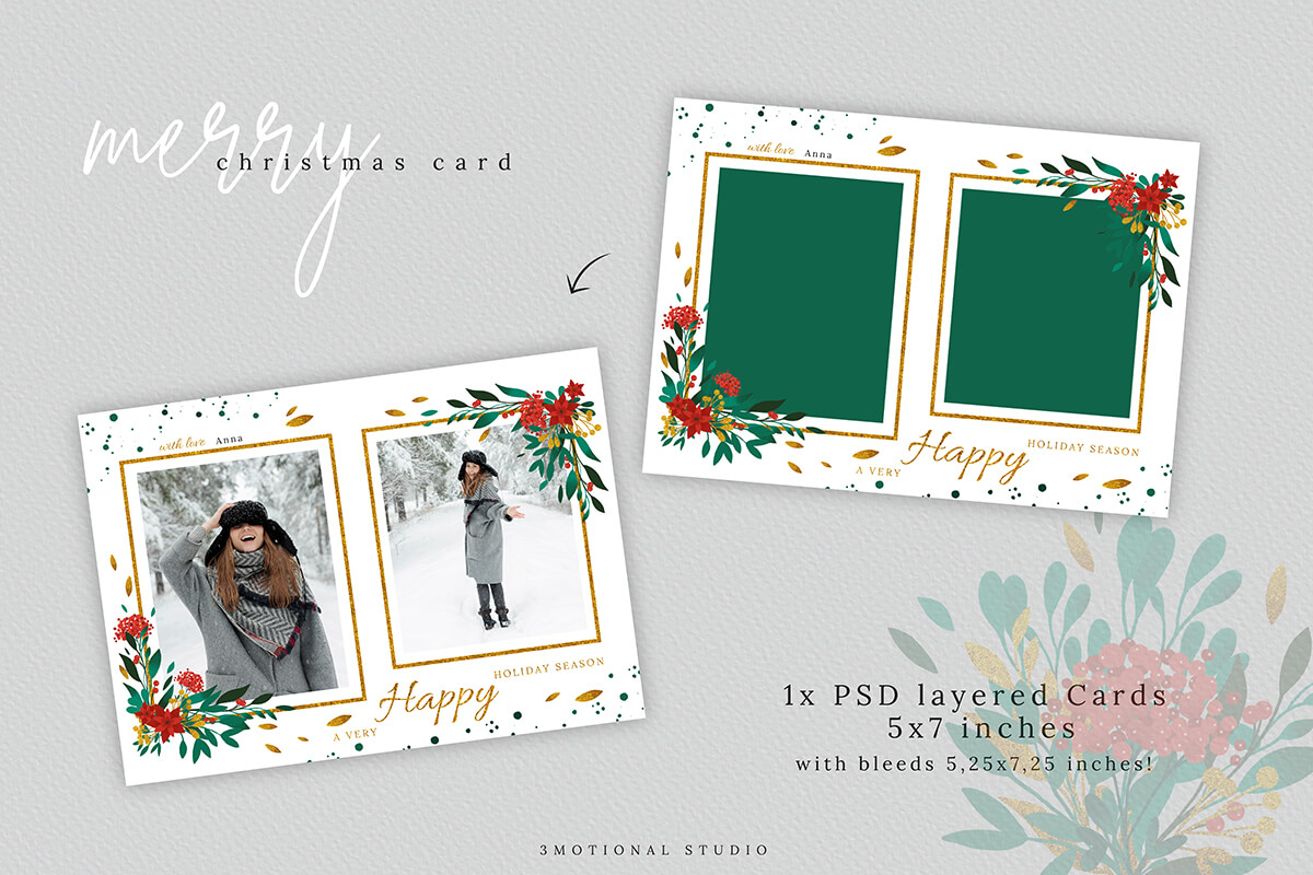 Merry Christmas Card Template 5x7 example image 3