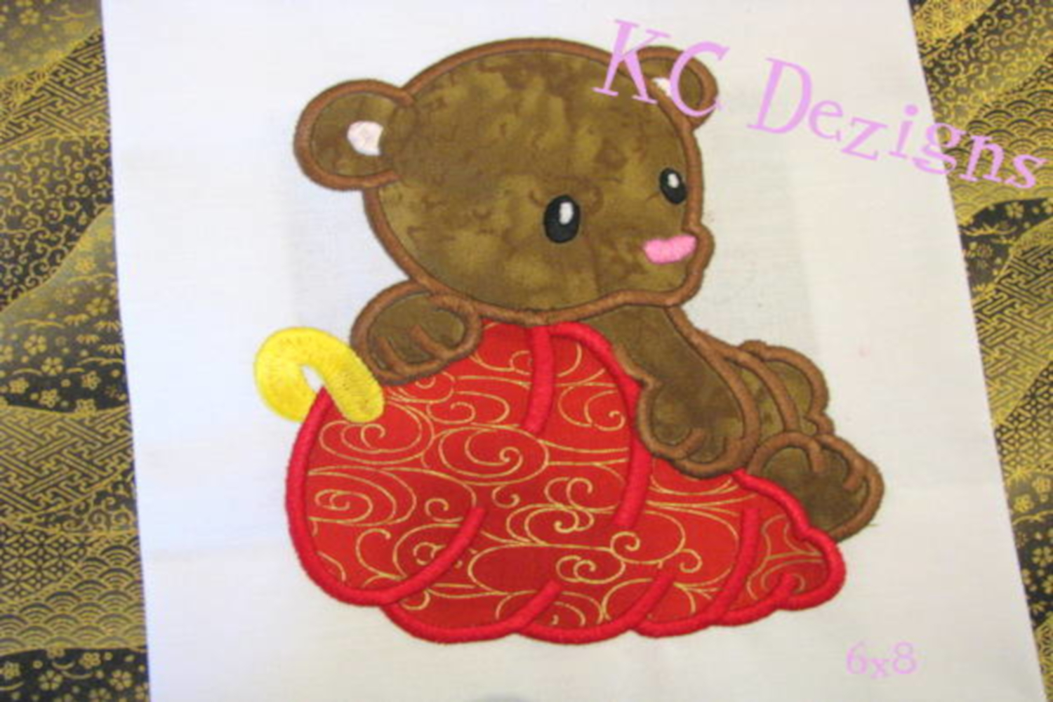 Christmas Bear Machine Applique Embroidery Design example image 2