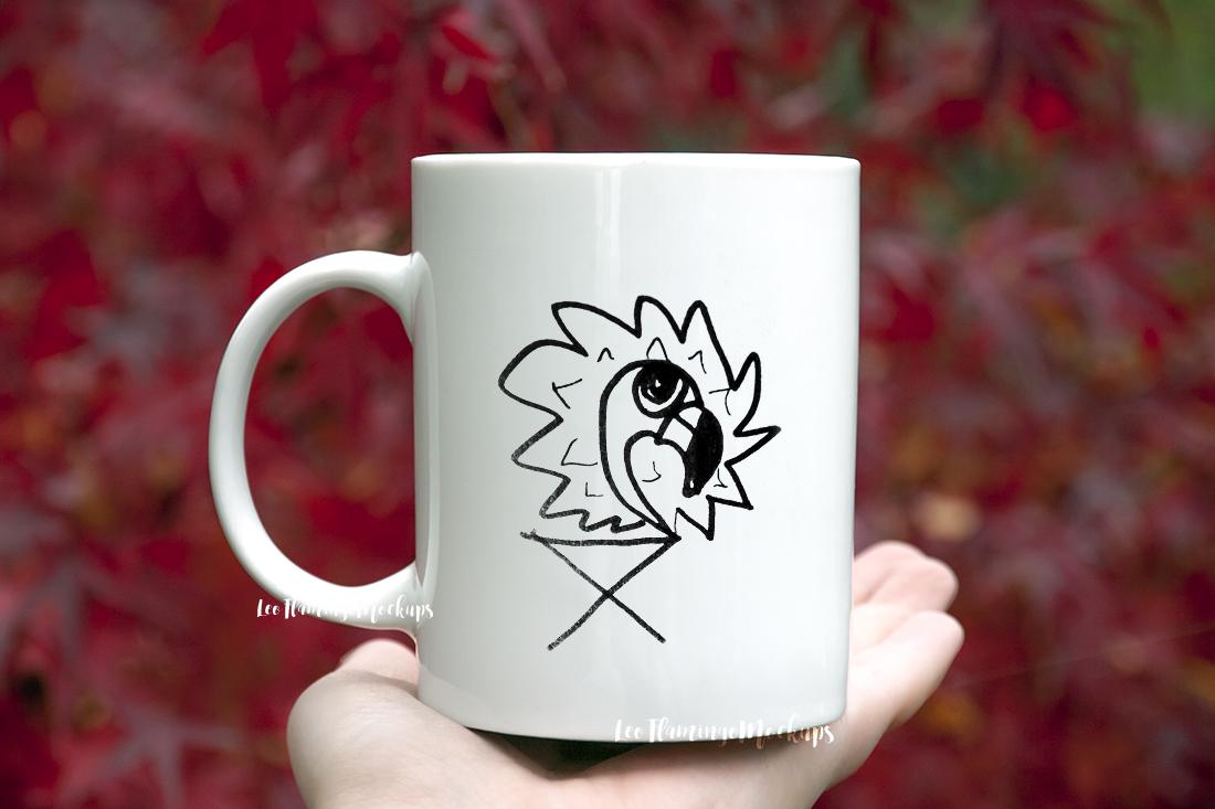 White coffee mug mock up Japanese maple tree background nature red natural example image 4