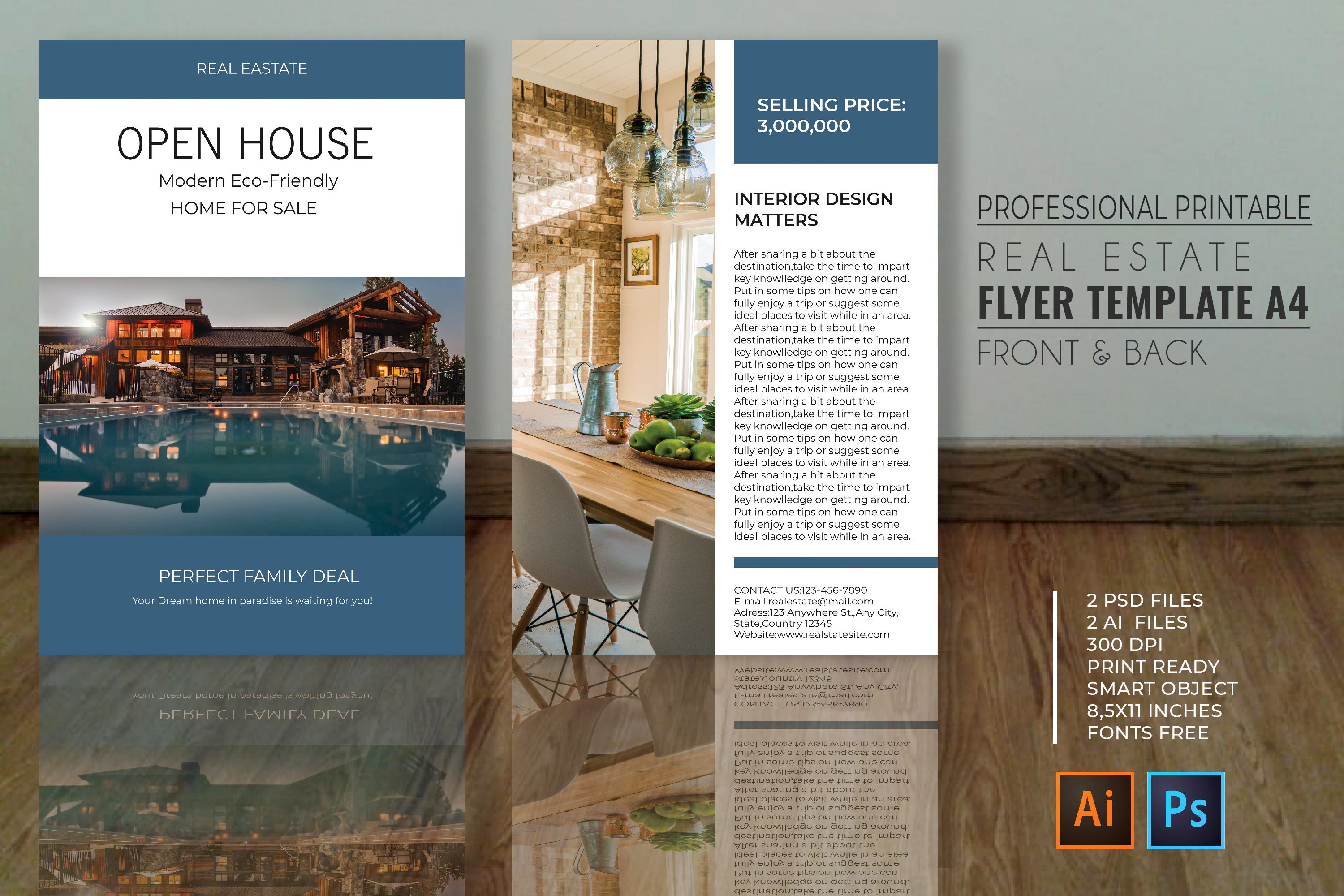 Professional Real Estate Flyer A4 - Printable Templates example image 1