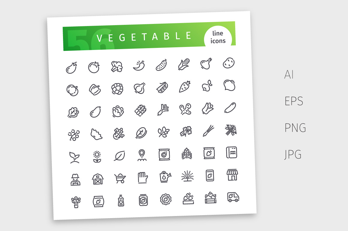 Vegetable Line Icons Set example image 2