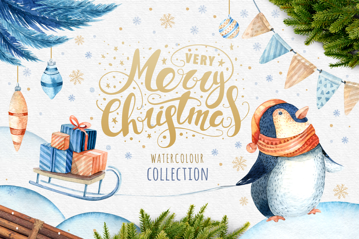 60off Watercolour Christmas BUNDLE! example image 5