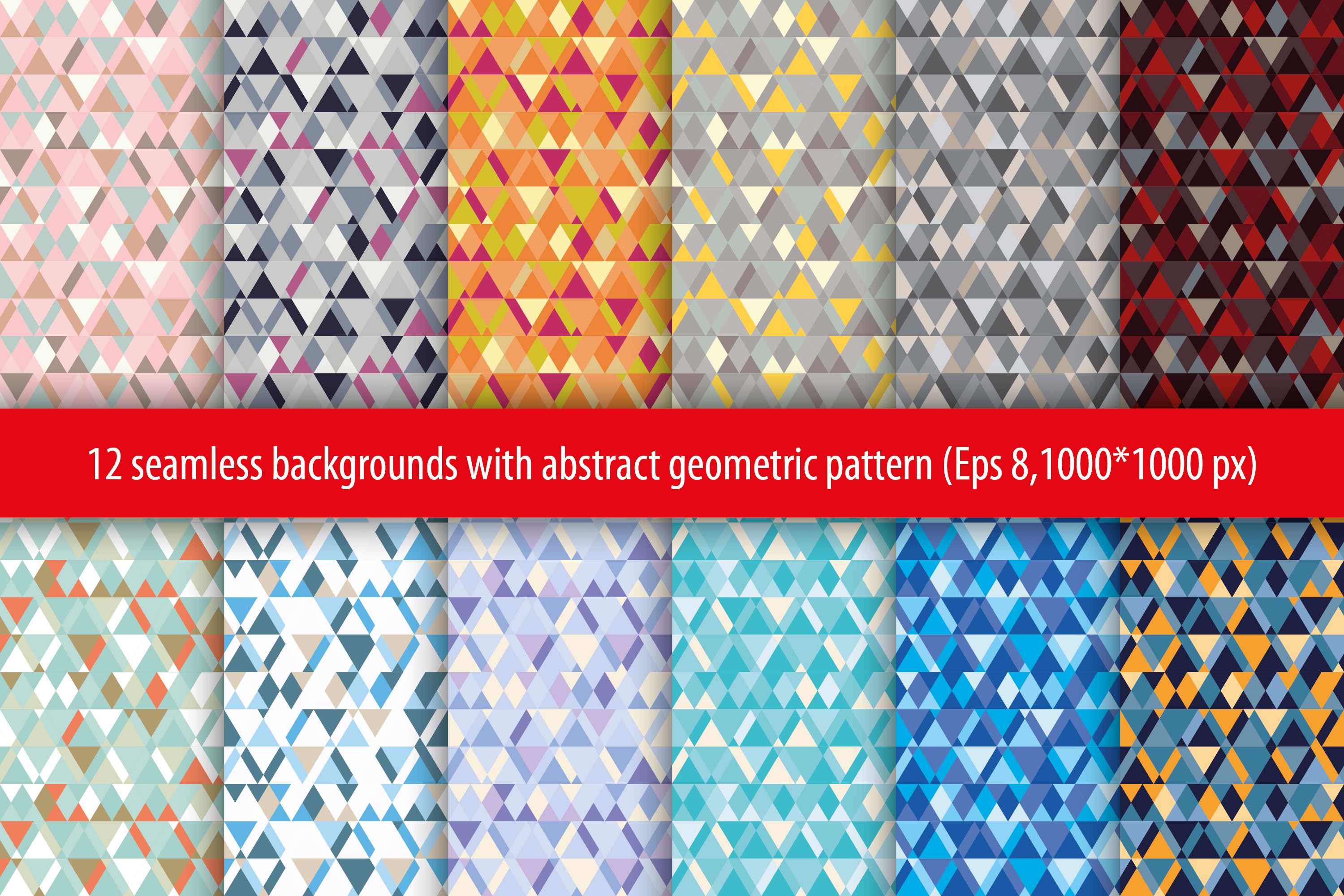 Set of 12 seamless vector backgrounds with abstract geometric pattern.  example image 15