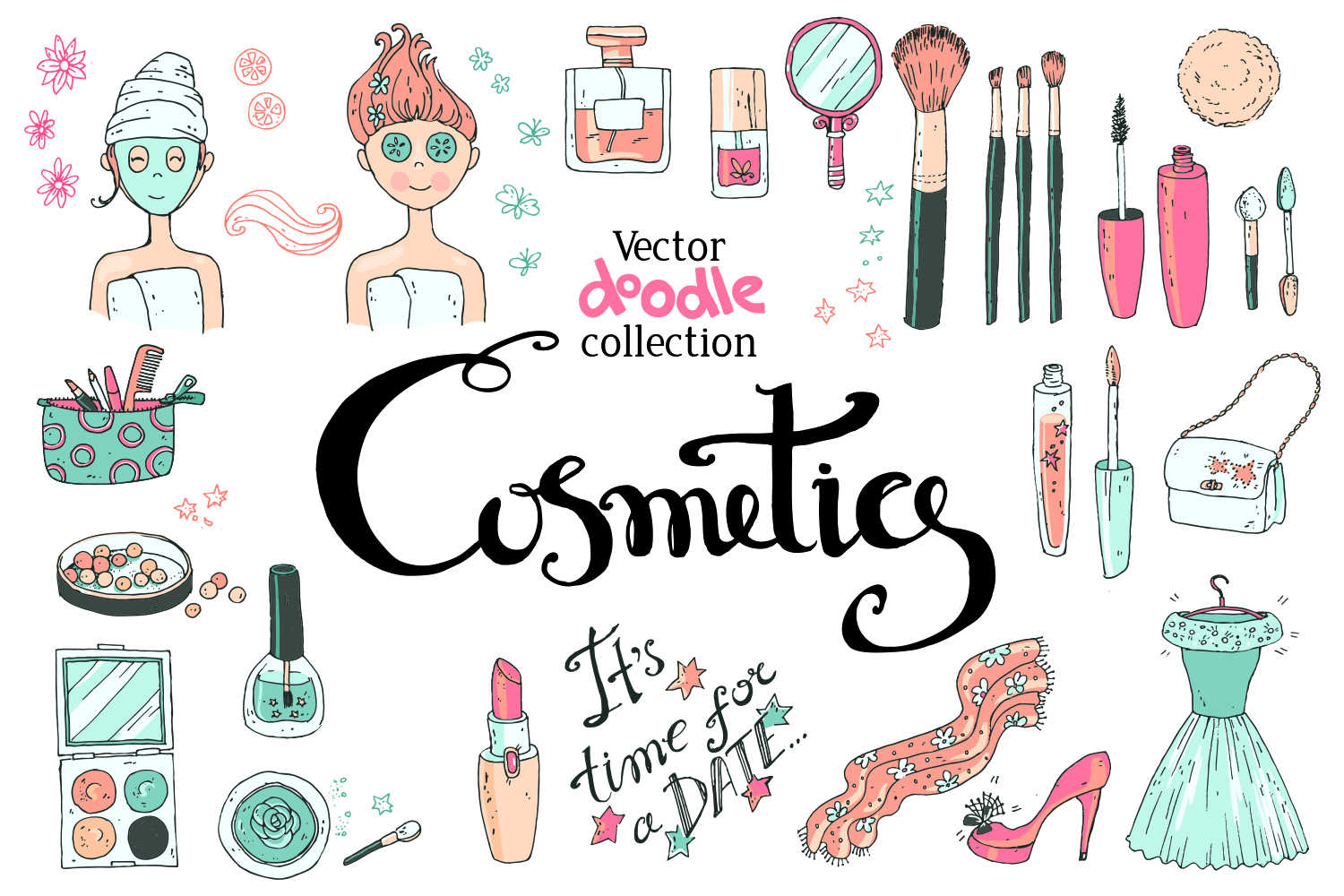 Doodle Cosmetics, Fashion, Spa And Beauty. Vector