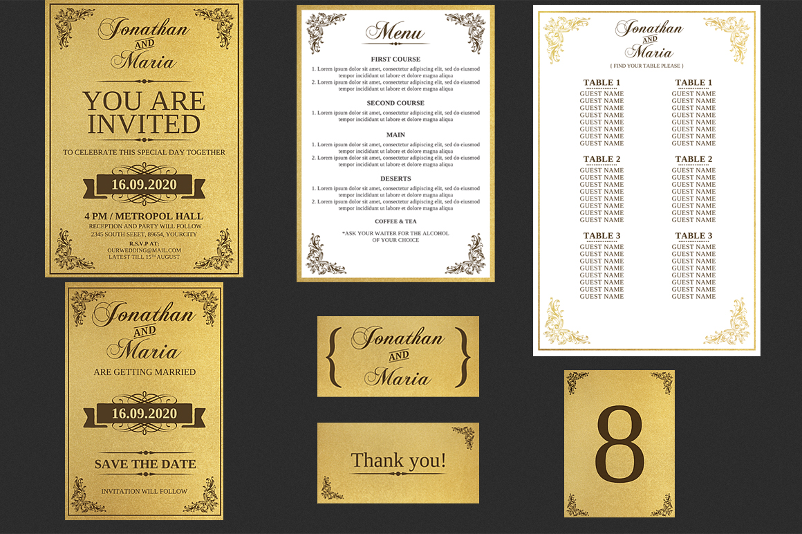 Gold Wedding Invitation Set example image 1