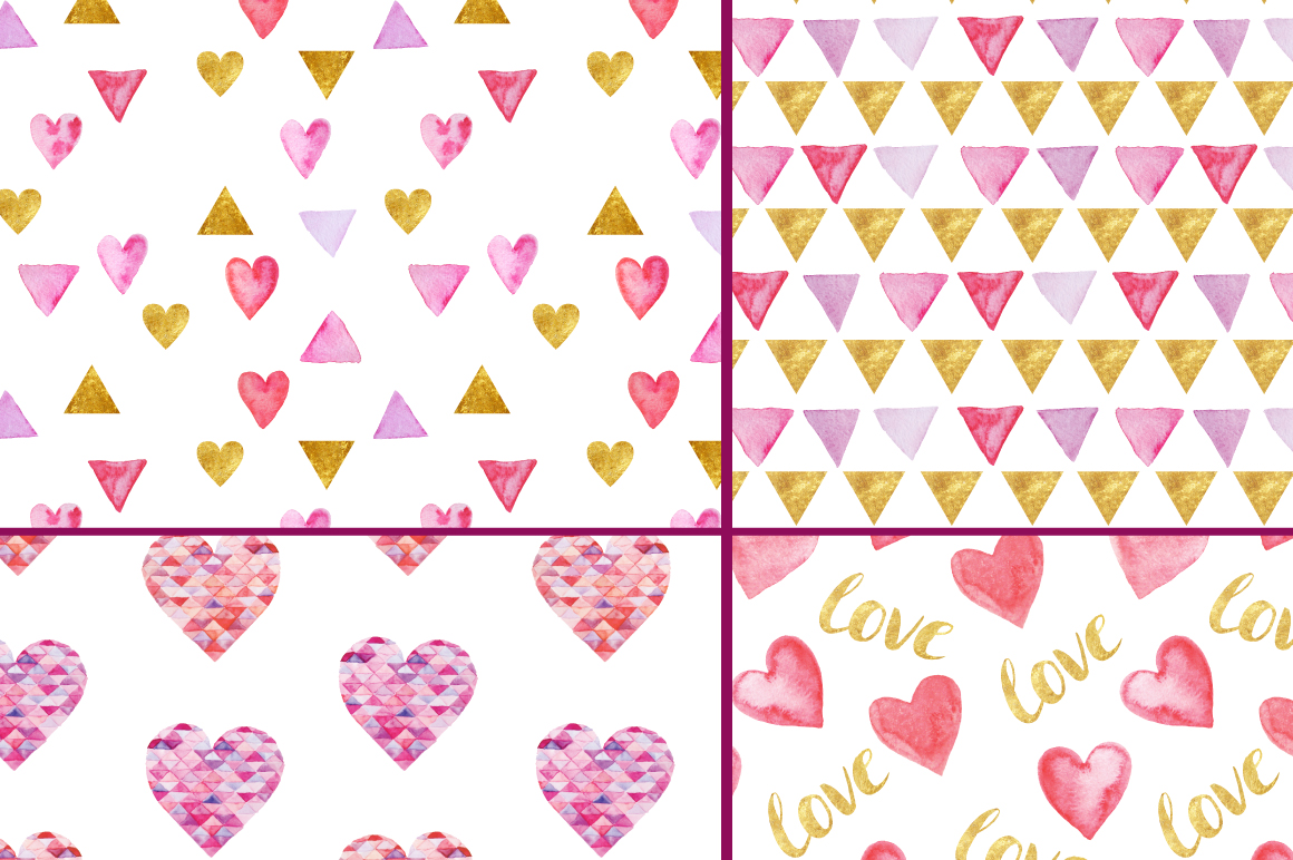 12 Watercolor Valentines Patterns example image 3