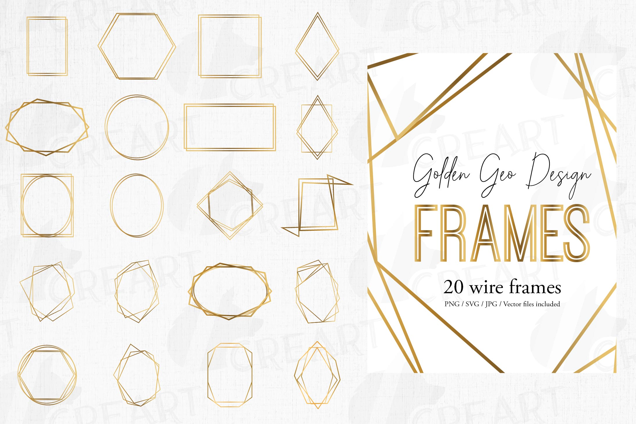 Golden geometric frames clip art. Wedding invite geo borders example image 1