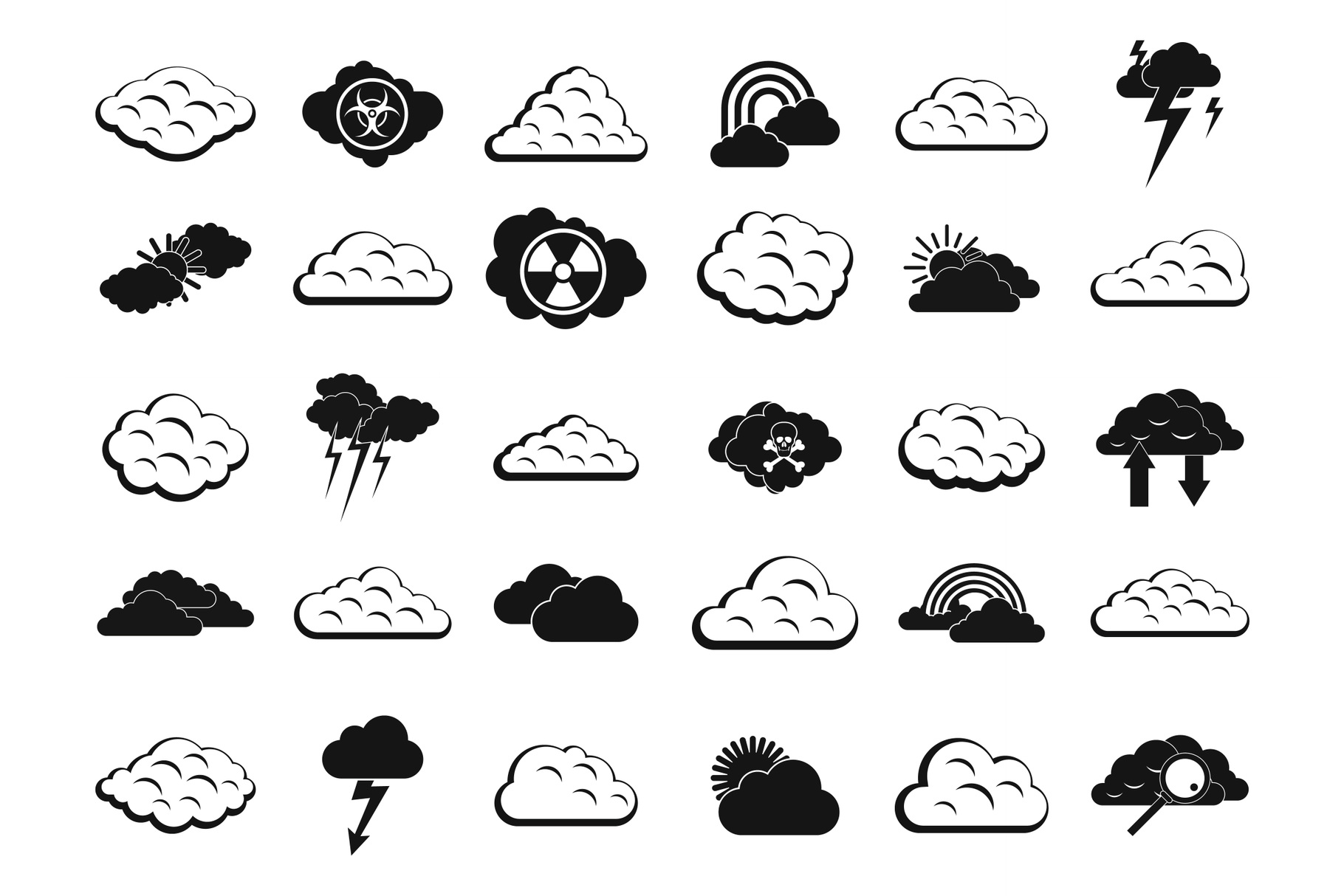 Cloud icon set, simple style example image 1