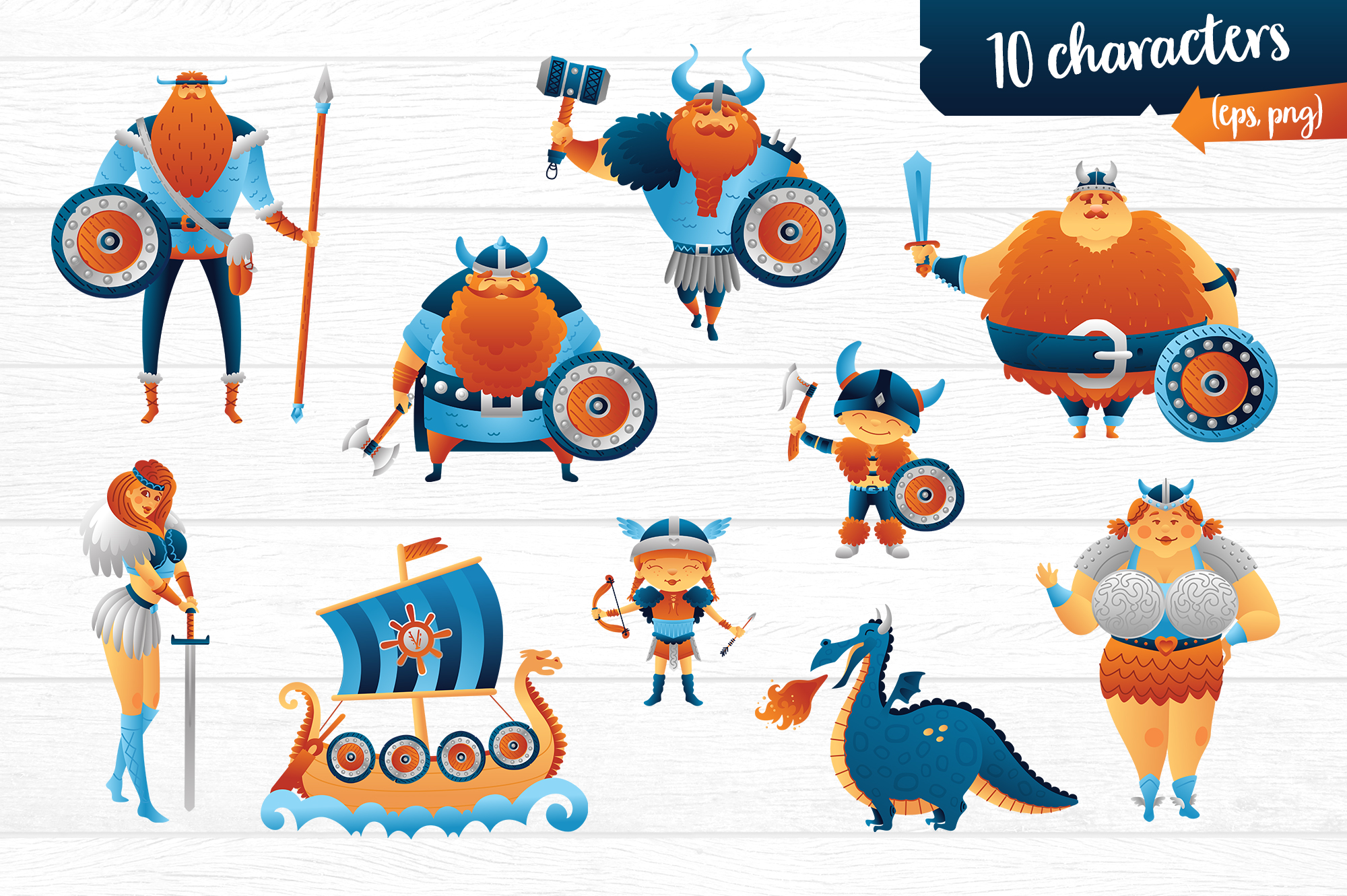 Vikings vector clip art illustration example image 2