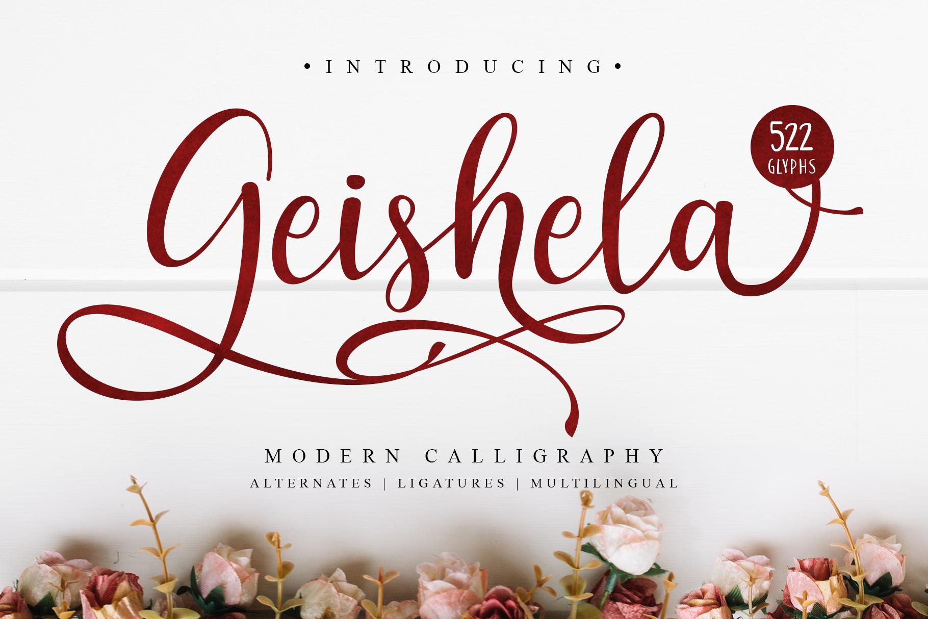 Geishela Script Font example image 1