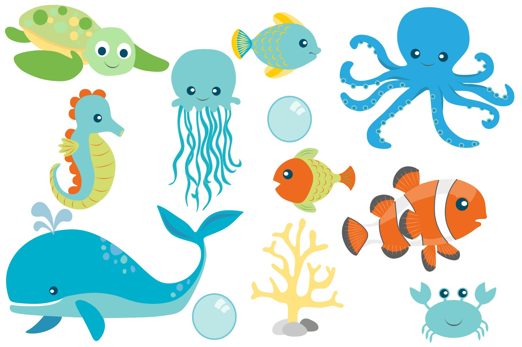 Sea Animal Clipart and Digital Papers Set example image 2