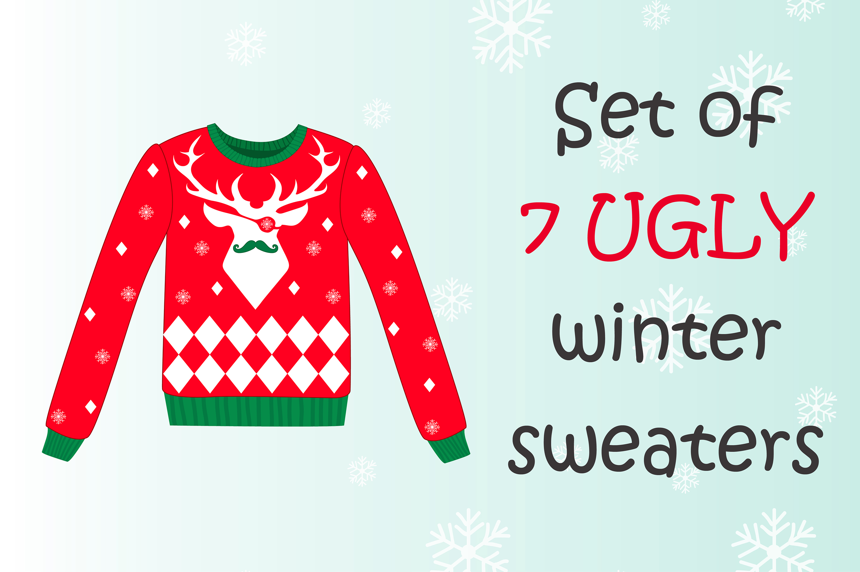 Set of 7 ugly winter sweaters example image 1