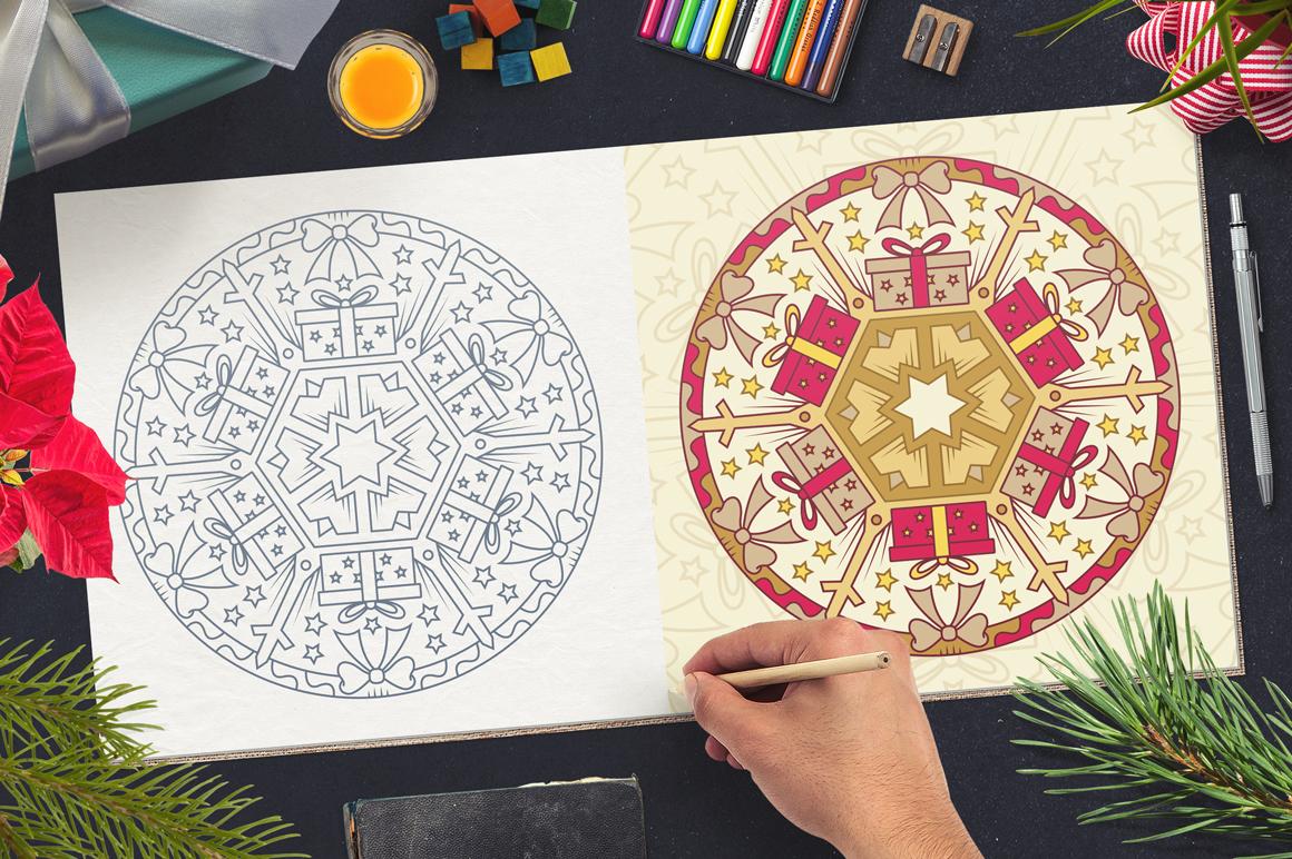 100 Christmas Mandala Ornaments example image 10