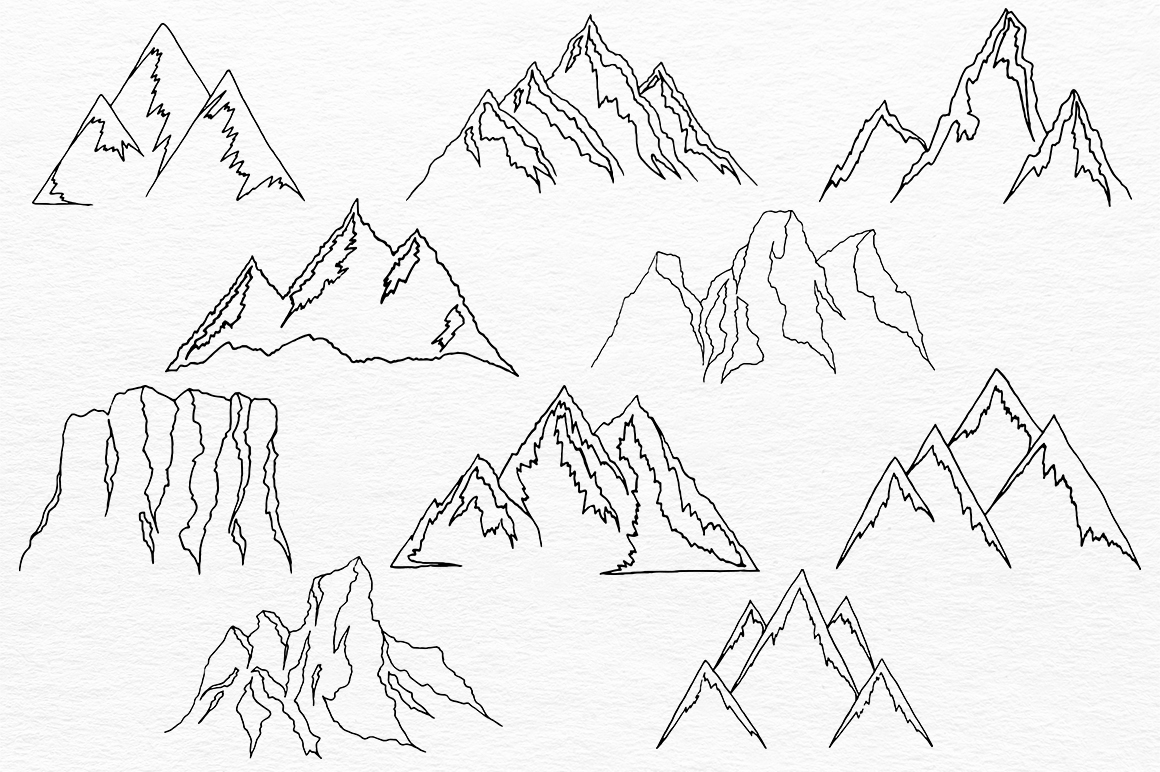Mountains HandDrawn Vector example image 5